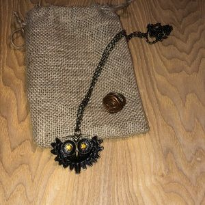 Owl necklace and statement ring